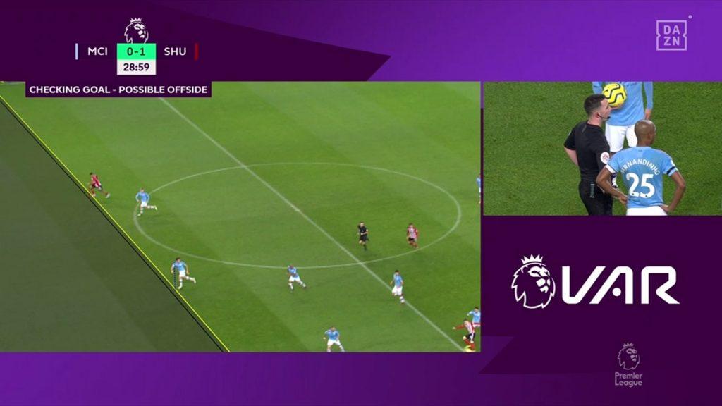 Gol anulado por supuesto fuera de juego al Sheffield United. Foto// Dazn España