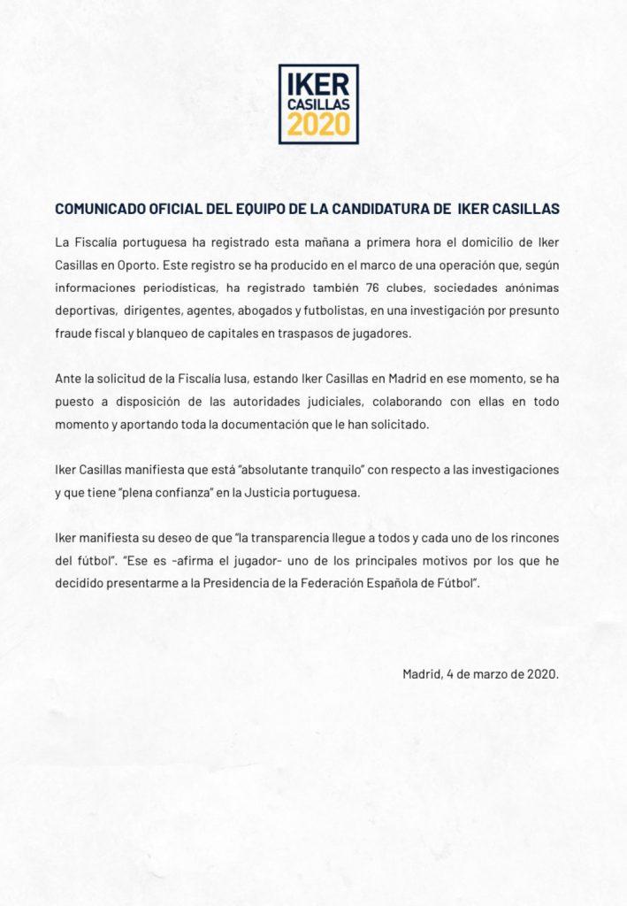Iker Casillas confirma que la Fiscalía de Portugal ha acudido a su domicilio en Oporto