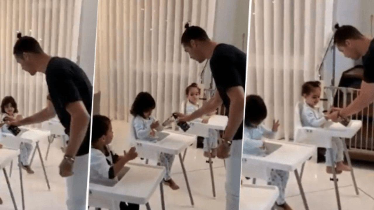 El portugués compartió un vídeo en el que aparecen tres de sus cuatro hijos