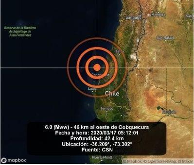 Un sismo sorprendió la madrugada de este martes a Chile, con un mínimo impacto en la zona centrosur del país.