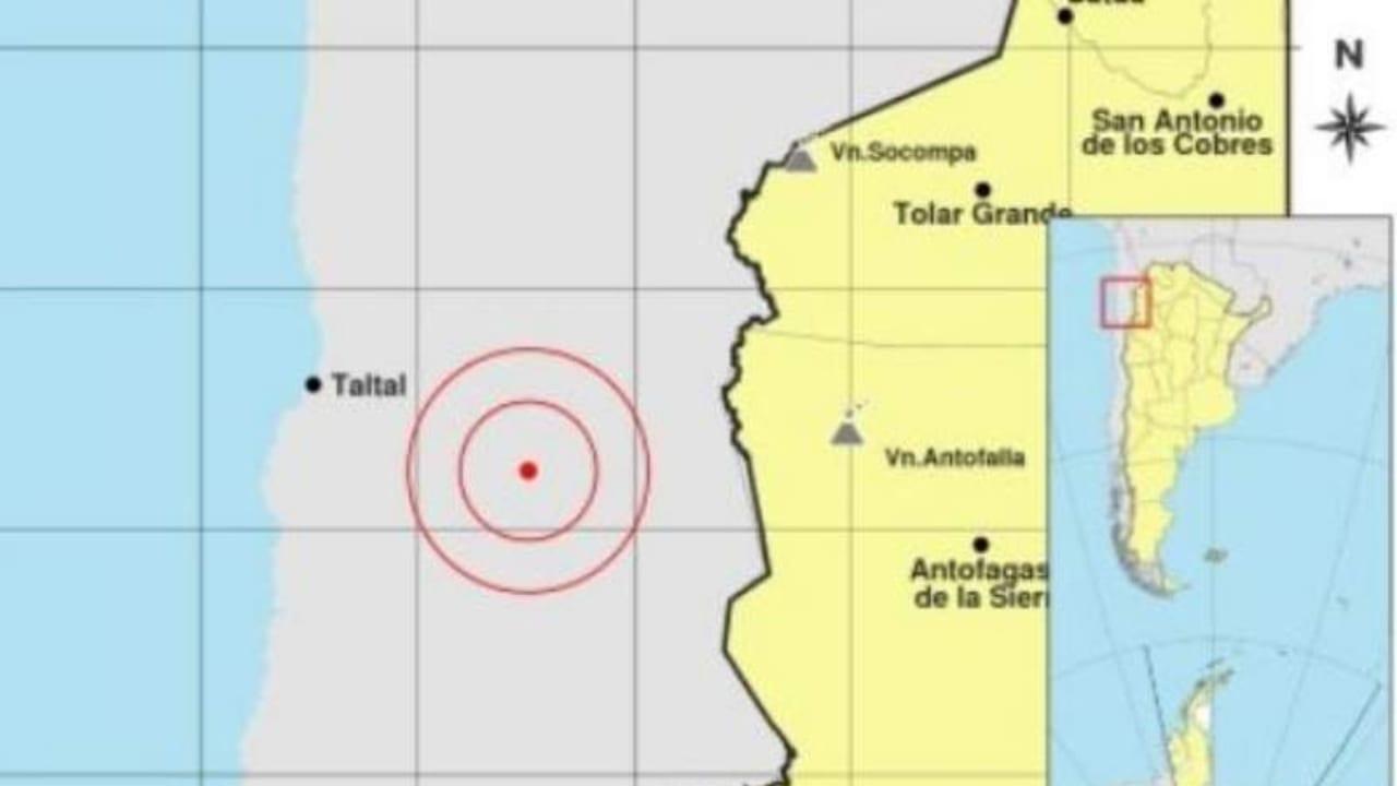 El epicentro estuvo a 423 kilómetros al oeste de la ciudad de Salta y 107 kilómetros al este de Taltal, a una profundidad de 10 kilómetros.