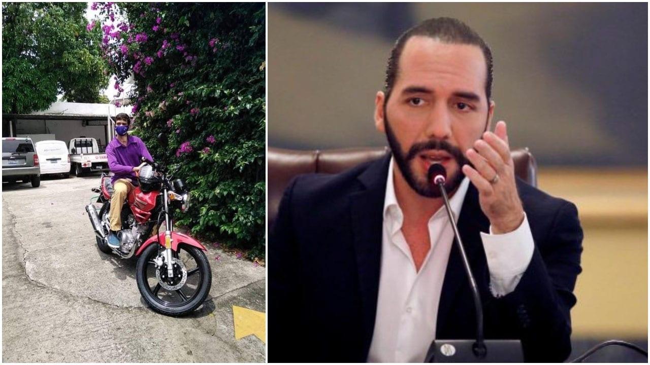 Tras enterarse del percance que sufrió el joven, el presidente salvadoreño le hizo llegar una motocicleta nueva.