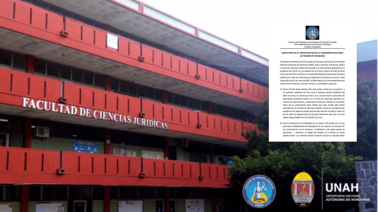 Fue a través de una carta pública que el claustro de docentes de Ciencias Jurídicas hizo ciertas observaciones y exigencias al rector Roberto Herrera Cáceres