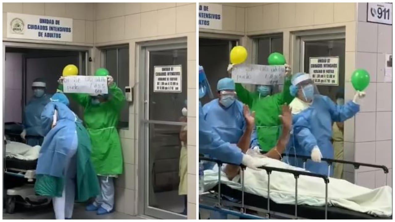 El compatriota estuvo interno en la Unidad de Cuidados Intensivos; a su salida, el personal sanitario le preparó una emotiva despedida entre globos y aplausos.