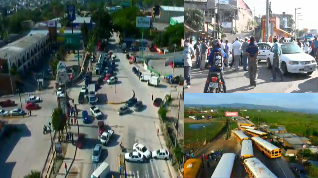Las salidas de Tegucigalpa al norte, sur y oriente fueron bloqueadas por conductores de taxi la mañana del jueves.