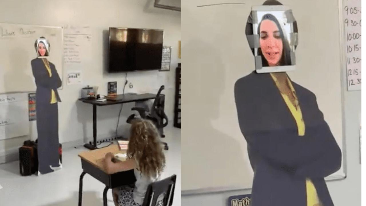 El hombre hizo un cuerpo de cartón y colocó una tableta en la cabeza que simulaba ser la maestra de la menor.