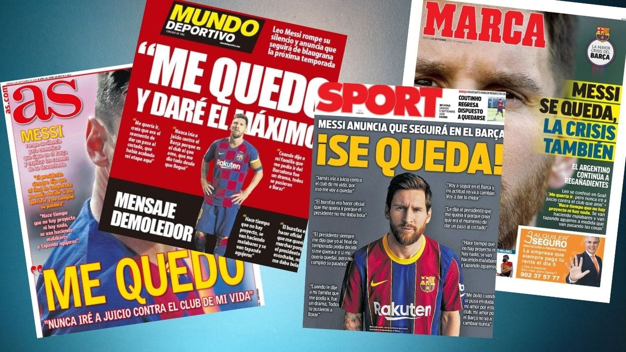 La entrevista de Messi de Goal.com dio la vuelta al mundo y los medios se hicieron eco de la decisión del argentino de quedarse a fuerza en el Barcelona