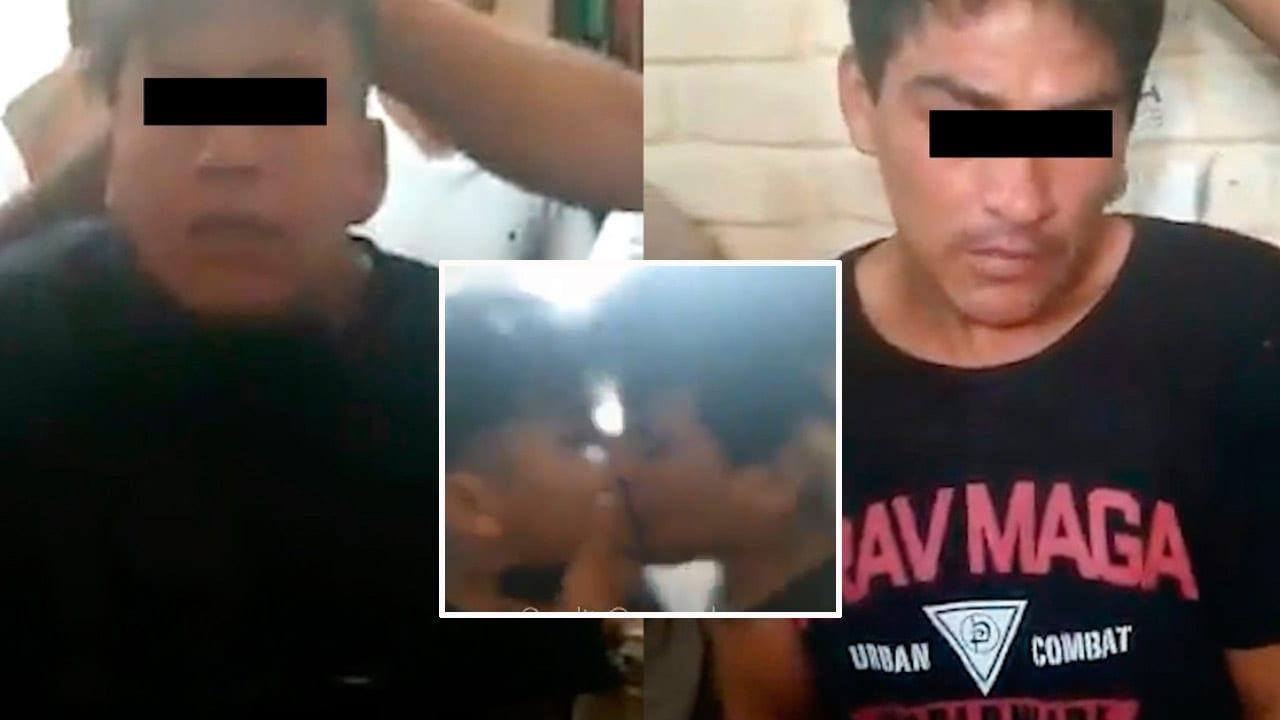 Las imágenes muestran cómo los dos asaltantes son golpeados por el resto de reos mientras les preguntan a qué se dedicaban.