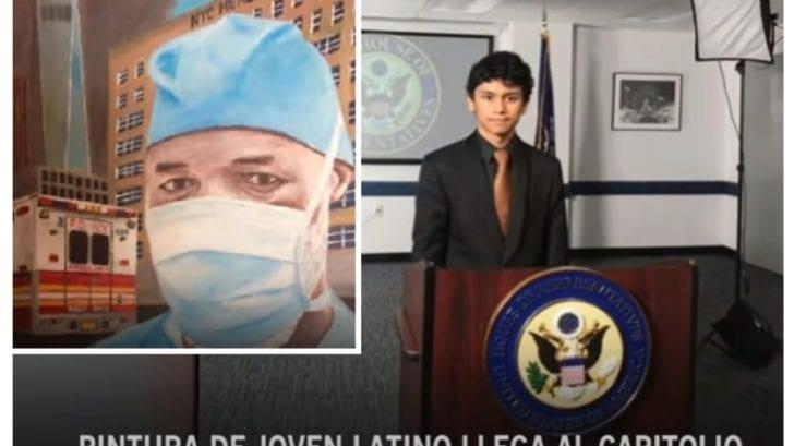 Joven hondureño expone obra de arte en el Capitolio de Estados Unidos, en honor a los héroes de la pandemia
