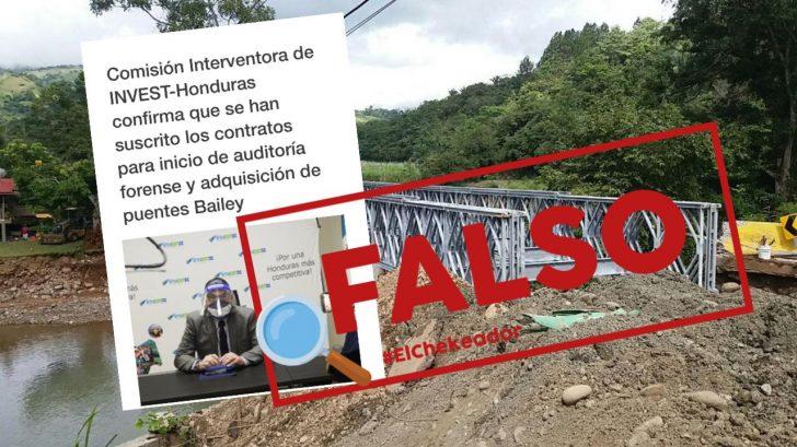 Invest-h no firmó contrato para compra de materiales de 20 puentes Bailey