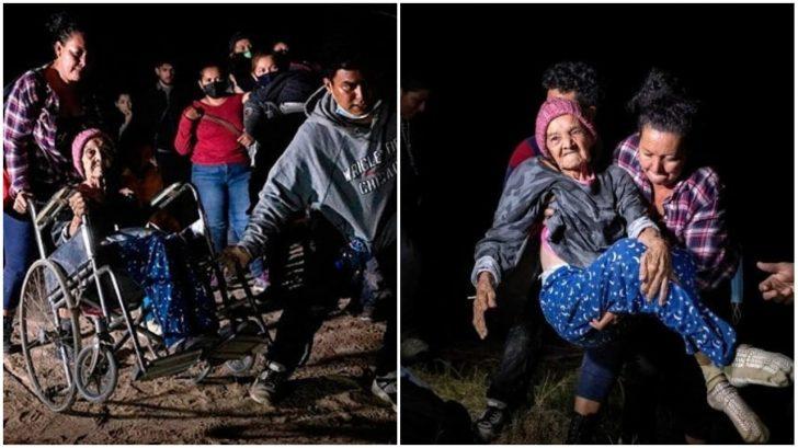 Dramáticas fotos de una hondureña de 93 años en silla de ruedas que cruzó la frontera hacia Estados Unidos