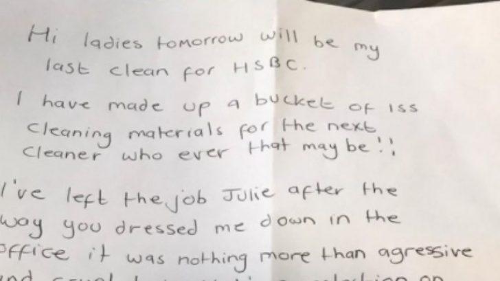 'Sé amable', la carta viral con la que se ha despedido una aseadora tras la actitud 'agresiva' de su jefa