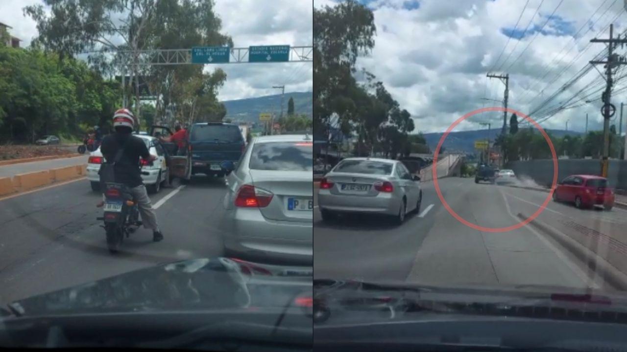 Uno de los conductores siguió al otro hasta sacarlo del carril y hacerlo subirse a la acera