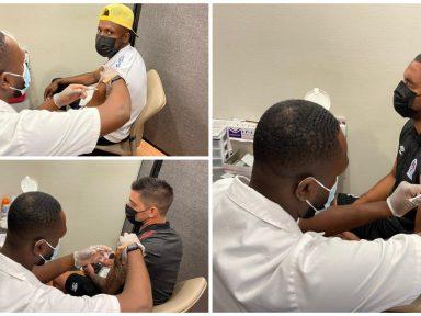 ¡Fotos! Así reaccionaron los jugadores del Olimpia al ser vacunados contra el covid en Estados Unidos