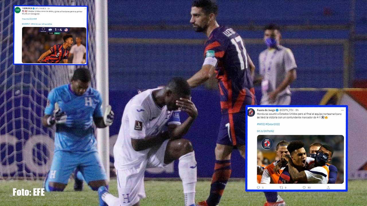 La Selección de Honduras fue goleada por Estados Unidos en un segundo tiempo en el que lograron anotar los cuatro goles del triunfo. Mira cómo reaccionaron a nivel internacional