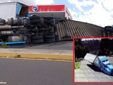 Publican vídeo del brutal accidente de rastra en la CA-5 que dejó un hondureño muerto