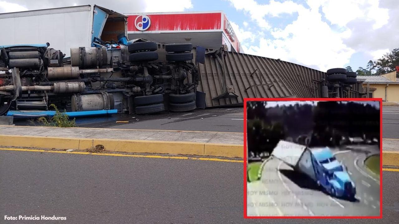 Aquí el momento en el que una rastra se accidentó aparatosamente en la carretera CA-5, a la altura de Zambrano, Francisco Morazán