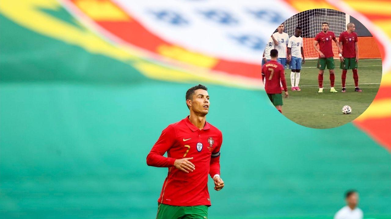 Cristiano Ronaldo lanzó el peor tiro libre en su historia y fue víctima de burla en redes