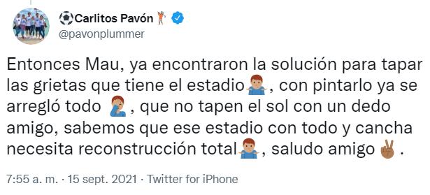 Tuit de Carlos Pavón
