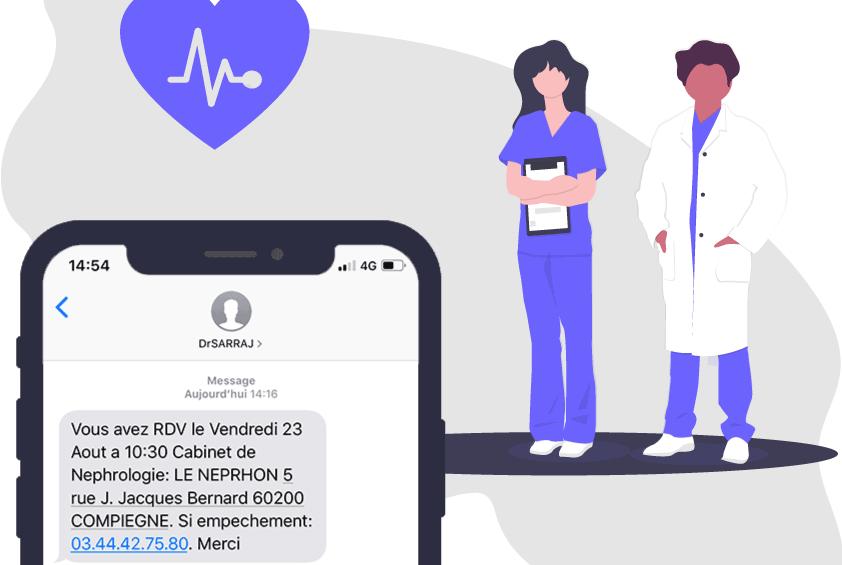 De nombreuses applications médicales se servent du SMS pour communiquer avec les utilisateurs. Source: smsfactor.com /CC-BY