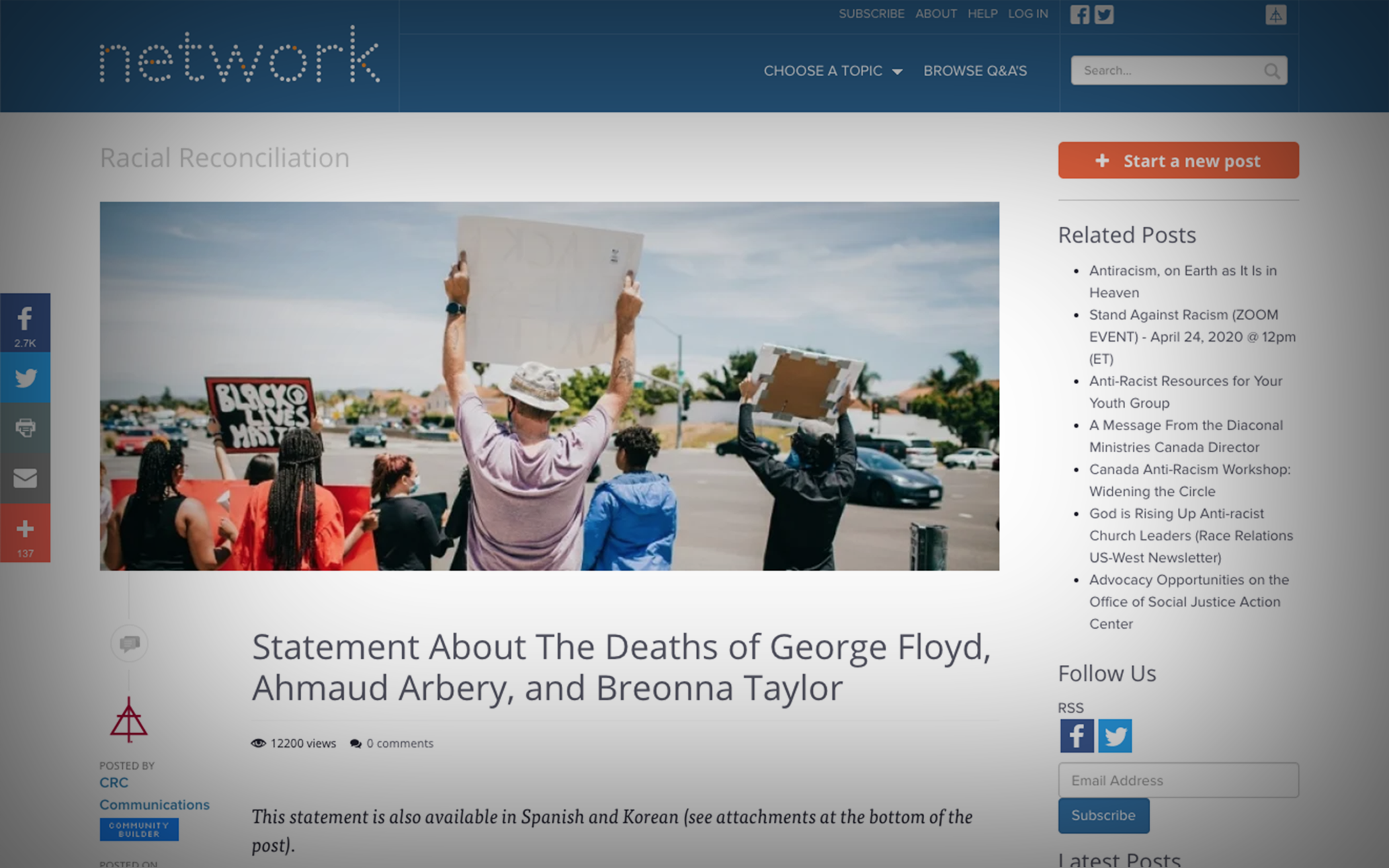 CRC Struggles to Respond to Racism Following Death of George Floyd