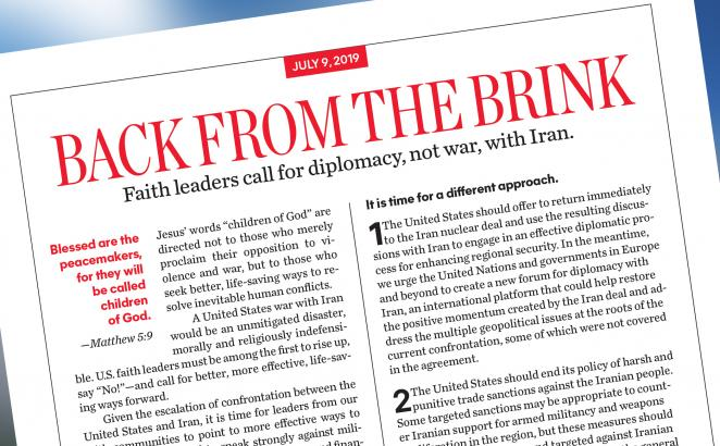 CRC Ministry Director Among Faith Leaders Calling For Diplomacy, Not War