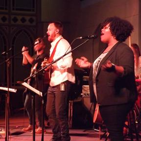 The Body and Soul Collective, headed by worship director Jeremy Zeyl, leads worship.