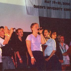 2000 – Brenda Jannsen with members of the God Squad praise team.