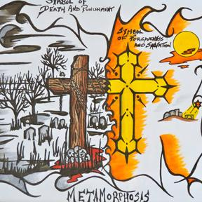 Darren Vanderlaan drew a visual for each Lenten sermon in St. Albert CRC.