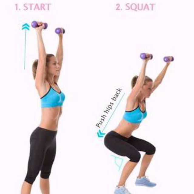 How to do: Overhead Dumbbell Squats - Step 1