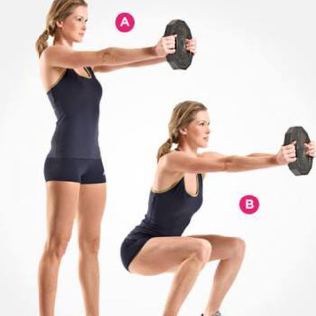 How to do: Single Dumbbell Front Raise Squat - Step 1