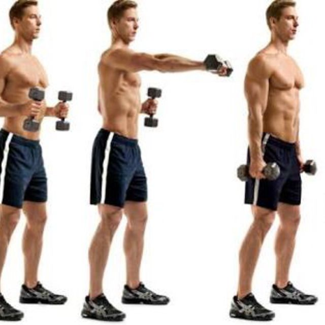 How to do: Dumbbell Cross Body Punch To Squat - Step 1