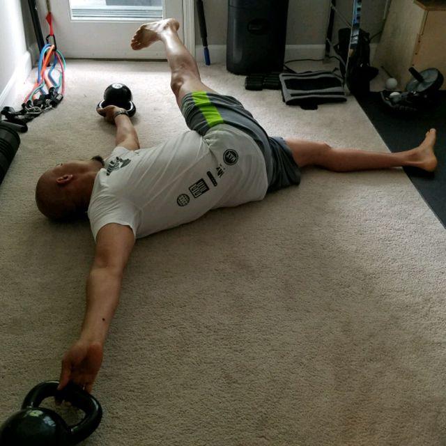 How to do: Lying Pendulum Side Kicks - Step 2