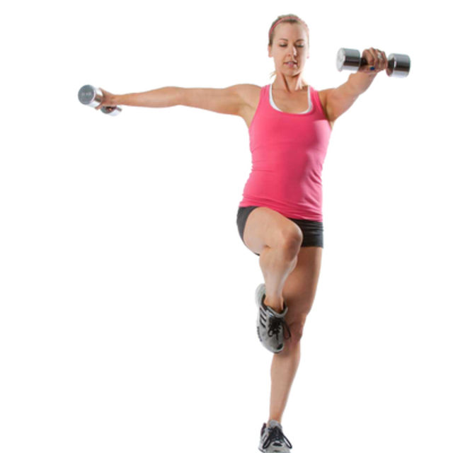 How to do: Lateral Lunge and Shoulder Raise - Step 2