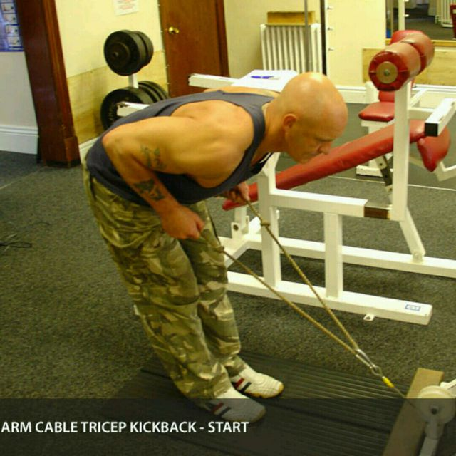 How to do: CM Bent Over Two Arm Triceps Kickbacks - Step 1
