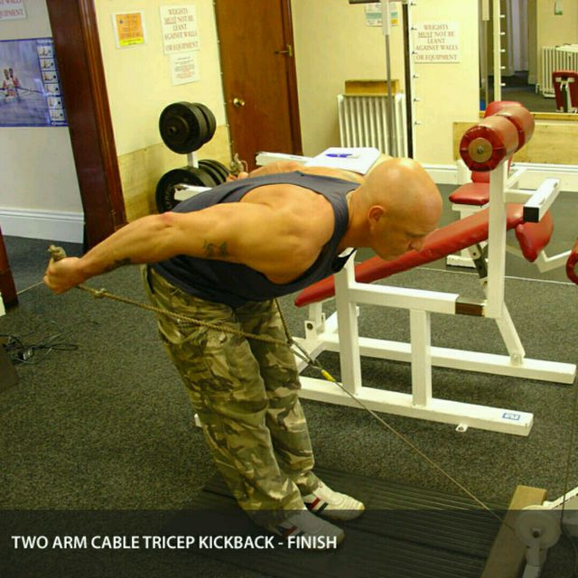 How to do: CM Bent Over Two Arm Triceps Kickbacks - Step 2