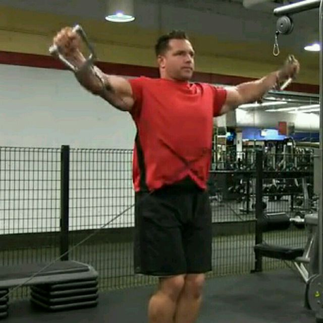 How to do: CM Low Pulley Two Arm Side Lateral Raises - Step 2