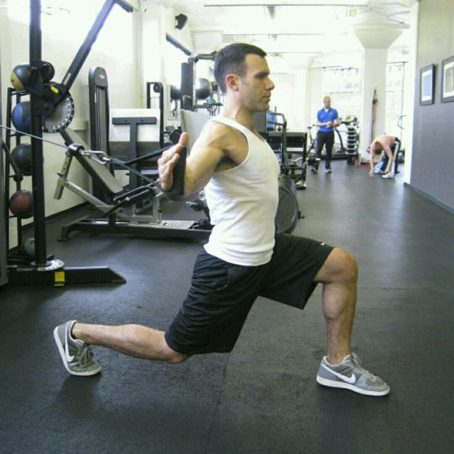 How to do: CM Forward Lunge With A Fly - Step 1