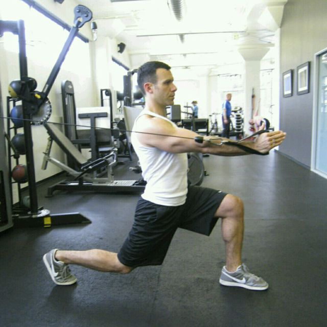 How to do: CM Forward Lunge With A Fly - Step 2