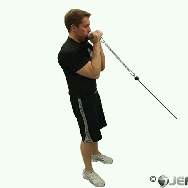 How to do: CM Standing Close Grip Bicep Curl with Bar - Step 2