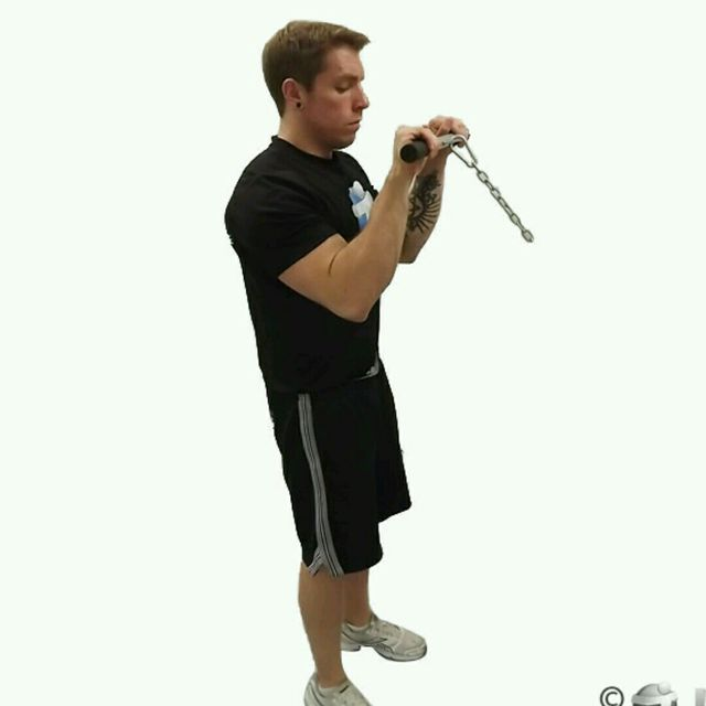 How to do: CM Standing Reverse Grip Bicep Curls - Step 2