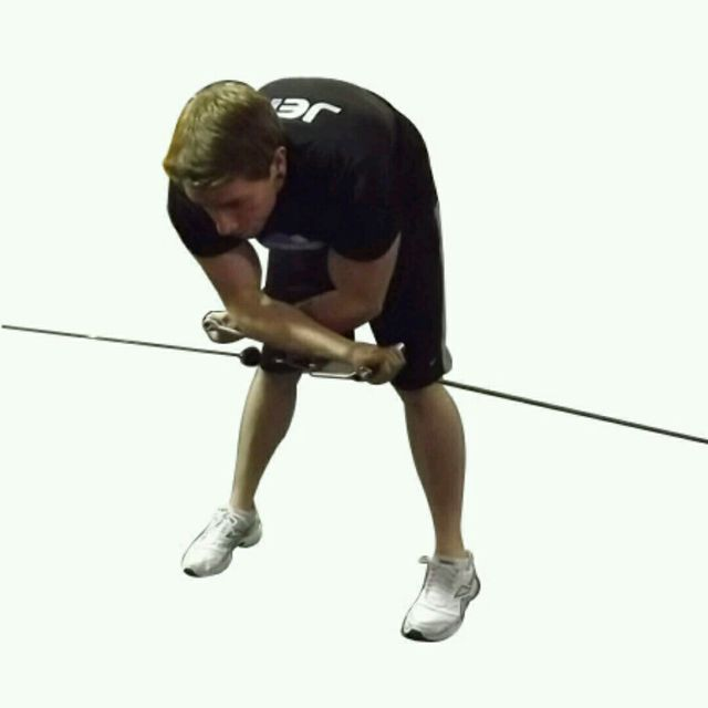How to do: CM Bent Over Low Pulley Crossover Fly - Step 2