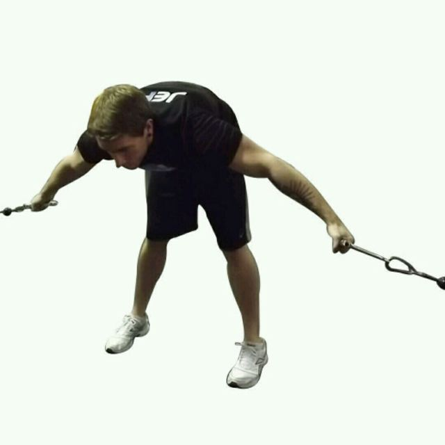 How to do: CM Bent Over Low Pulley Crossover Fly - Step 1