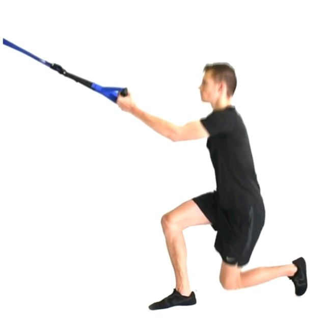 How to do: TRX RIGHT SIDE LUNGE/ KNEE UP - Step 1