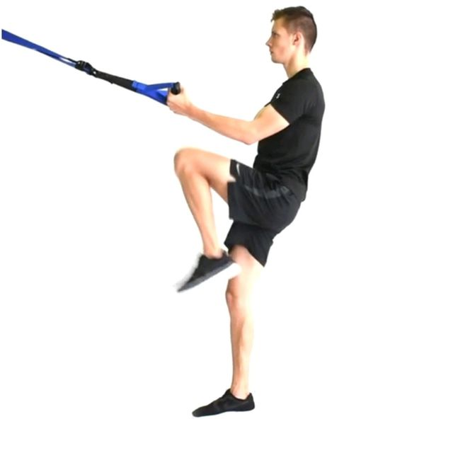 How to do: TRX RIGHT SIDE LUNGE/ KNEE UP - Step 2