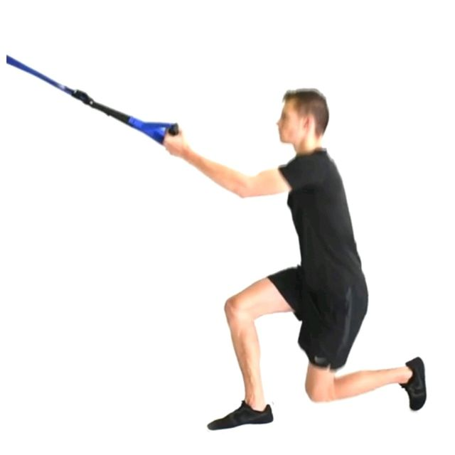How to do: TRX LEFT SIDE LUNGE / KNEEUP - Step 1