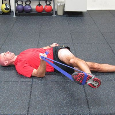 Lying Rope Hip Stretch