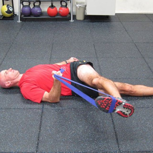 How to do: Lying Rope Hip Stretch - Step 1