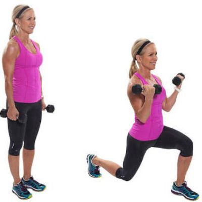 Back Lunge With Bicep Curls