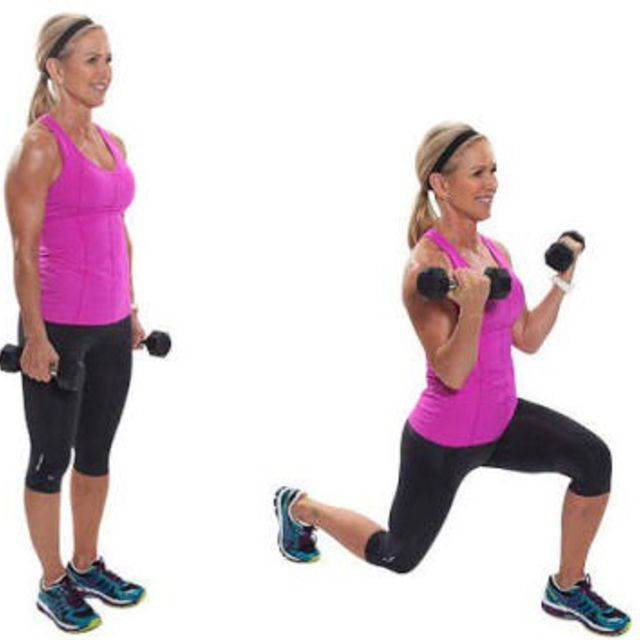 How to do: Back Lunge With Bicep Curls - Step 1